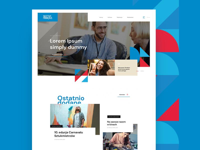 Institut français de Pologne design inspiration french typography ux website header layout webdesign concept