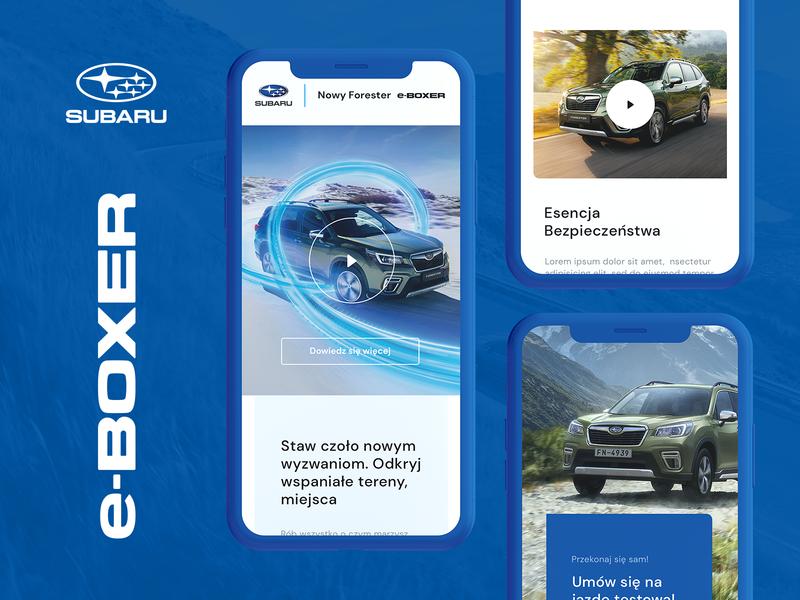 Subaru e-Boxer inspiration webdesign ui concept mobile layout design automotive subaru car