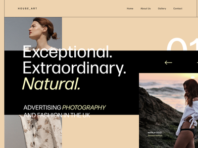 Photography and fashion - concept home website header concept artist photos brutalism layout fashion photography