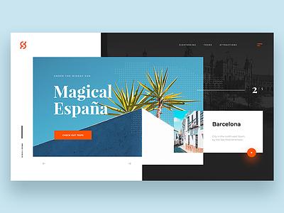 Magical Espana - header concept trip holiday typography spain travel website concept layout header design webdesign