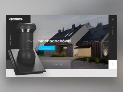 Concept - Ventilation chimneys homepage modern clean roof home product website typography ui design inspiration header concept webdesign