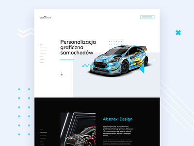 Graphic personalization of cars - for Abstraxi typography car ui header layout website product concept cars design webdesign