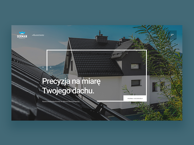 German Simetric - for Blachotrapez home typography ux product concept header design layout roof webdesign