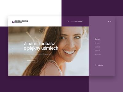 Dentist dentist ui ux home concept header website layout design webdesign