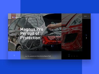 Magnus Pro website concept ux race safety protect car layout design webdesign
