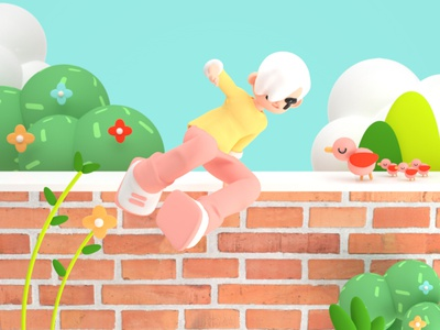 Jump cinema 4d creative inspiration art character art morning illustration 3d illustration 3d art 3d