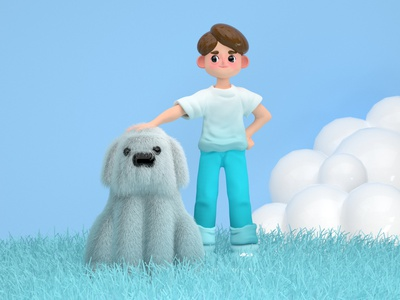 Dog & Boy inspiration art creative 3d render zbrush cinema4d 3d illustration 3d art dog 3d cute dog dog character dog illustration boy dog