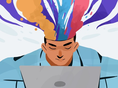 Overthinker office working work laptop design art creative inspiration illustration