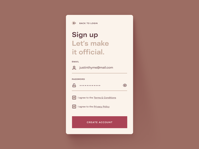 Sign up — Daily UI 001 warm minimalism ux ui daily ui challenge mobile sign up 001 daily ui