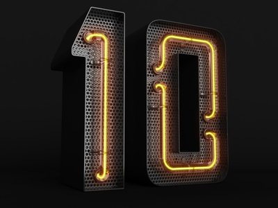 3D neon numbers 3d counter countdown infographics game interface lettering 3d text background grid neon glow 10 top ten number