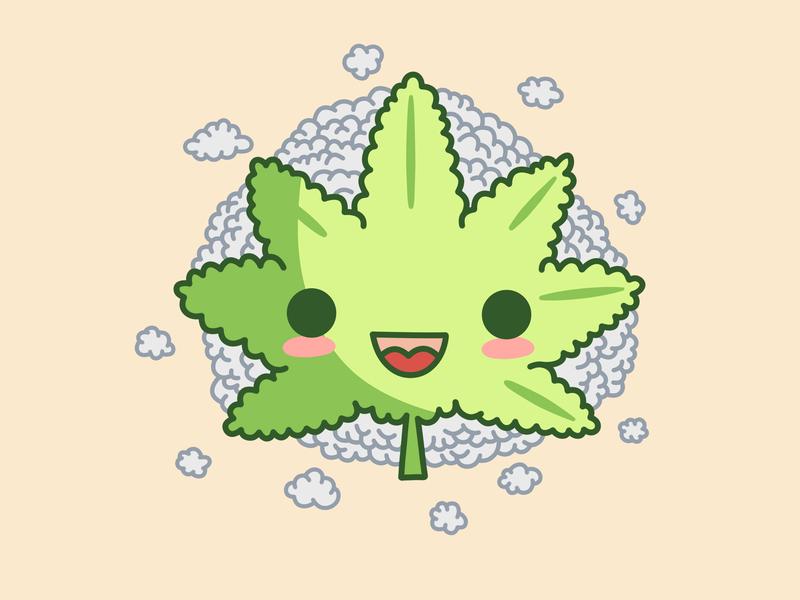 Cute weed acer cannabis debuts flat logo weed cute doodle
