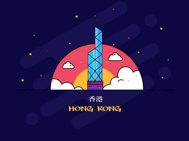 Hong Kong Icon. stickers skyscraper dribbble