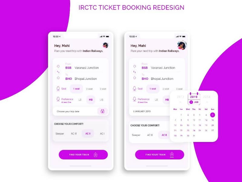 IRCTC Train Ticket Booking app Design