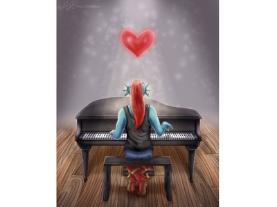 Undertale - She's Playing Piano piano undyne fanart video games undertale illustration