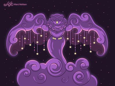 Night Owl stars owl vector art illustration
