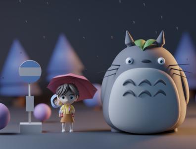 My neighbor Totoro miyazaki ghibli totoro blender 3d art design modeling render character 3d shot dribbble