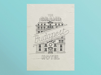 Grand Budapest Hotel illo film poster budapest linework architecture poster design illustration design hotels film wes anderson