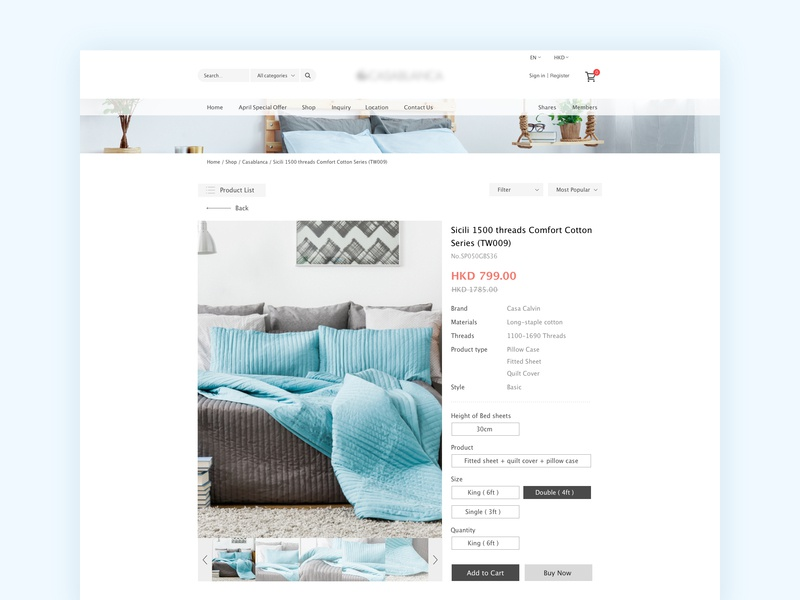 bedding eshop - product page ui eshop ecommerce web  design