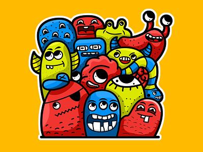 Monster Doodle Art drawing adobe illustration doodle art adobe illustrator character design flat illustration colorful cartoon cartoon character 2d character digital painting adobe photoshop illustration design
