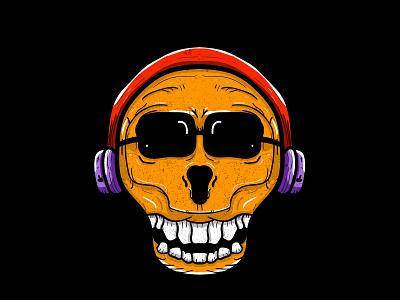 Skull and headset adobe photoshop flat illustration drawing character design adobe illustrator cartoon character cartoon art illustration design