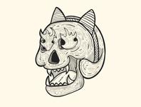 Skull and Bandana doodle art vector character design drawing skull art outline 2d character adobe illustrator cartoon art illustration design