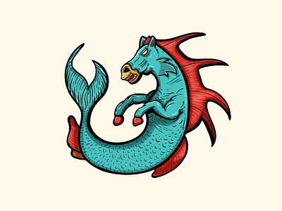 Hippocampus cartoon character cartoon flat illustration character design apparel design t shirt design vector art art drawing adobe illustrator 2d character illustration design