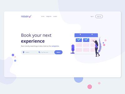 Reserv - booking app landing page website flat app minimal ui design undraw illustration web logo ux