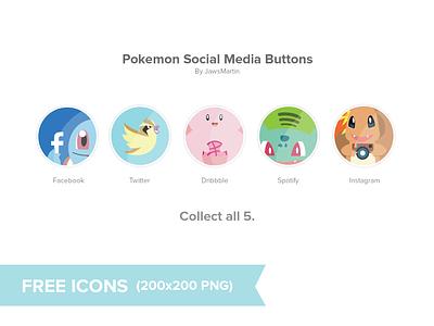 Pokemon Social Icons free pokemon icons illustration instagram icon pokemon icons free download facebook icon twitter icon dribbble icon spotify icon