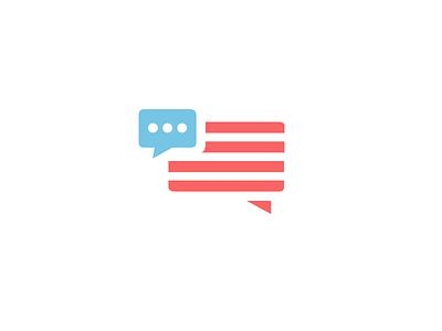 America Talks us flag usa logo flag chat talking america talk messaging united states