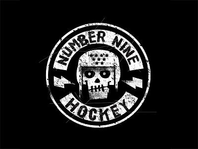 Number 9 Hockey skull hockey seal thunderbolt skull logo badge hockey logo black shirt