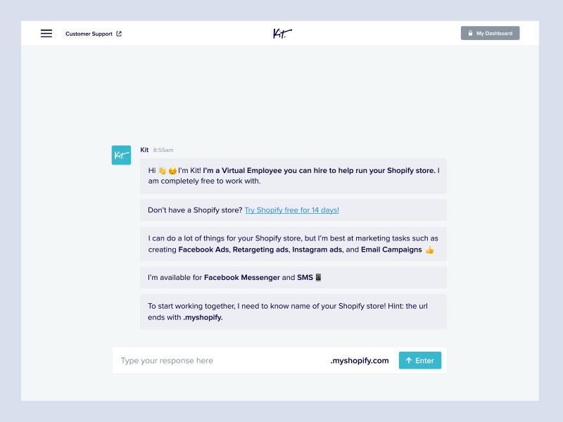 Kit Homepage landing page homepage home chat chat bot conversation
