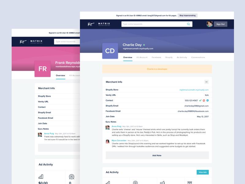 Kit Matrix dashboard admin profile