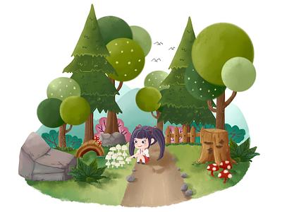 A girl in the garden illustration
