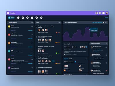 DECODAS Tasks & Projects management Dashboard CRM UI menagement projects tasks project task sketch navigation icon ux ui app designer portfolio community designer