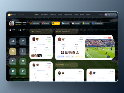 BETONIO Live Sports App incase Social Distancing by COVID-19 UI sketch design icon livestream liverpool covid-19 matches dashboard uiux ui app sports live betting