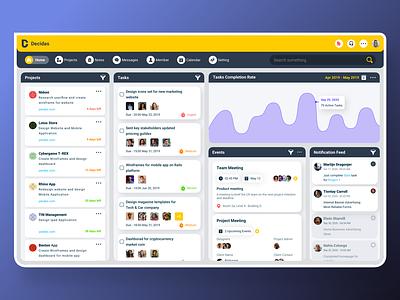 Decidas - Projects Management Dashboard for Design Teams notification events tasks website design projects team management dashboard