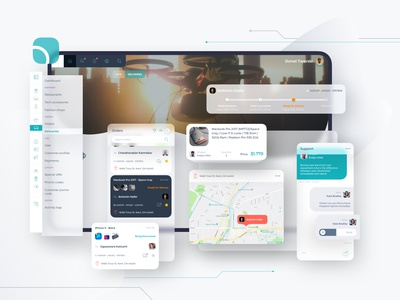 Obinet Orders Managment Dashboard CRM UI crm pro dashboard direction map chatbot product timeline logicstic technology delivery web dashboard sketch uidesign uiux ui shipping