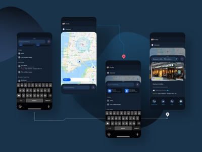 Navigation Map Mobile UI design location icon dark mode voice control kit sketch modern search direction navigation slide home map mobile app ux ui