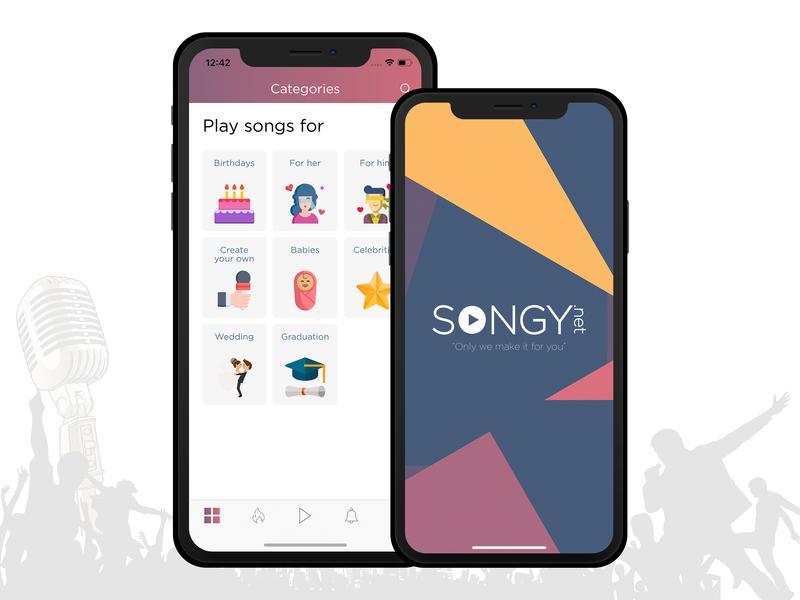 Splash and home page iphone x mockup singing colorful branding card design ui  ux mobile app ui tab bar gift music songs singer search categories homepage splash screen splash