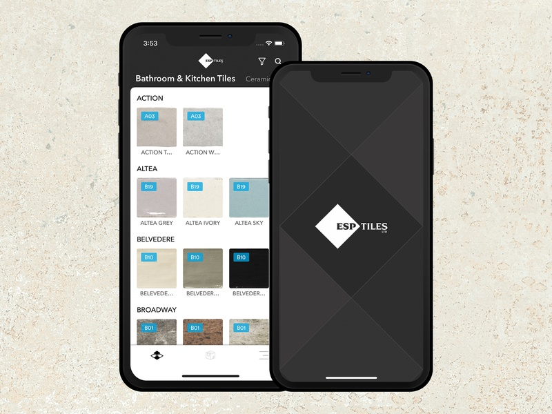 Tiles app catalogue design catalogue home shades mobile app ui iphone x mockup tag filter search tab bar categories splash home page kitchen ceramic bathroom tiles