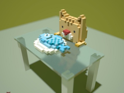 want to eat. cat voxelart voxels magicavoxel
