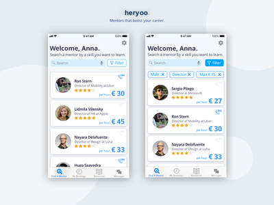 Mentor Search Dashboard - Mobile design mentor ui search filter dashboad