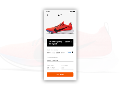 Credit Card Checkout - Daily UI #002 ui dailyui mobile ui ios nike credit card checkout