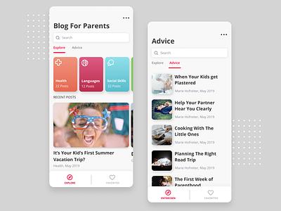 Clean Blog App parents mobile app blogger advice ui blog blog design filter clean ui mobile ui