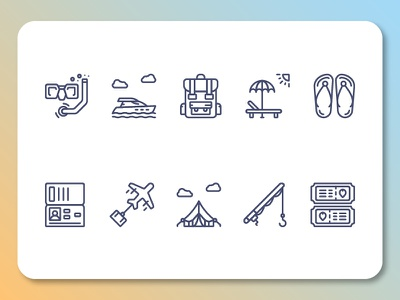 Travel Outline 02 web vector ui travel train tour set outline maps luggage line iconography icon hotel book guide compass camera bus bag