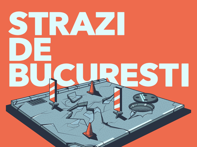 Vector illustration - The streets of Bucharest