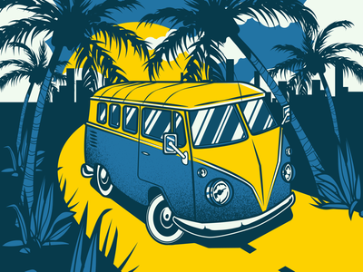 Vacation illustration palm design vacation old van illustrator adobe vector illustration
