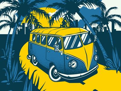 Vacation illustration palm design vacation old van illustrator adobe vector illustration