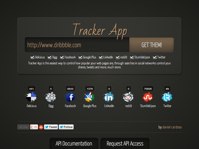 Tracker App tracker track shares likes tweets counter