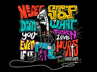 """Never give up"" Hand-lettering tshirt music rock procreate lettering handlettering graphic adobe illustrator design illustration"
